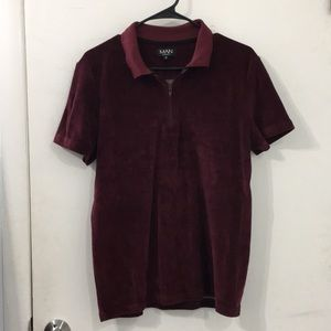 Boohoo Man red wine velvet T-Shirt